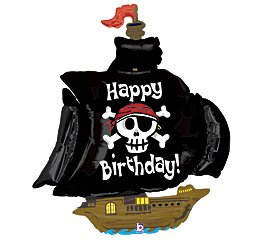 Sea Sailing Pirate Costumes - Betallic Pirate Ship Shaped Jumbo Foil Balloon
