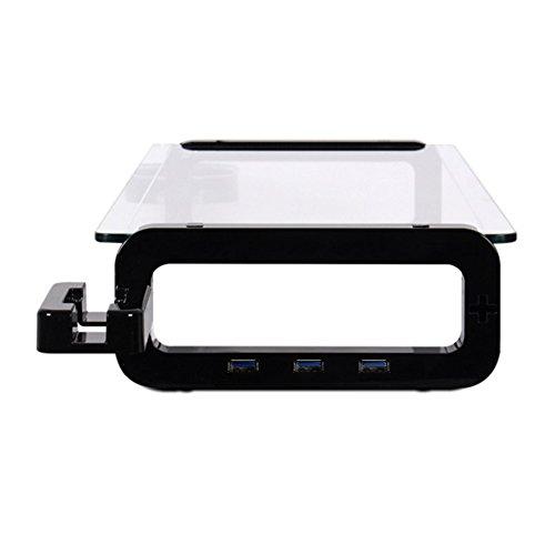 Sunnone UBOARD SMART 3.0 - Tempered Glass Monitor Stand Shelf Built-in 3 x USB 3.0 Hub - Black by U-board (Image #4)