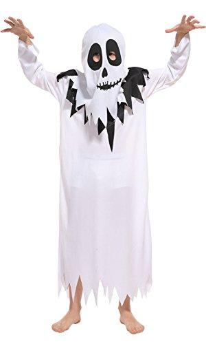 Boys Evil Spirit Costumes (La Vogue Kid Unisex Hooded Ghost Robe Phantom Dress up Holloween Costume Set of 2 XL 6T-7Y)