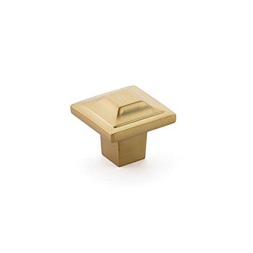 Schaub Menlo Park Collection 1-1/4 in. (32mm) Square Faceted Knob, Signature Satin Brass - 530-SSB (Solid Square Knob Brass)