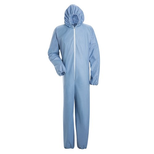 Bulwark Flame Resistant PVC Coated Chemical Splash Disposable Hooded Coverall, Sky Blue, 4X Large by Bulwark FR