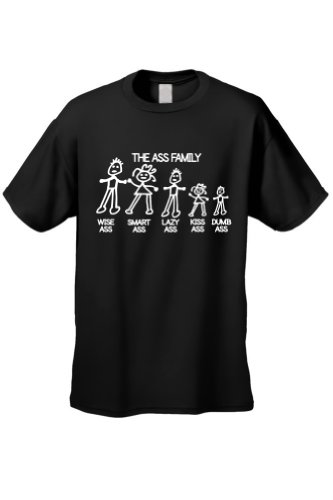 Men's/Unisex Funny Meet The Ass Family! BLACK Short Sleeve T-shirt (Family Short Sleeve Tees)