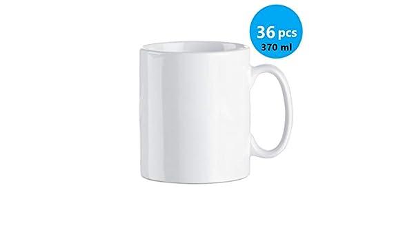 Publiclick Juego de 36 Tazas ceramicas Blancas de 370ml, 9.8 x cm - 8.2 Ø, Tazas Personalizables, Tazas Colorear, Tazas Empresa, Tazas Boda, Detalle: Amazon.es: Hogar