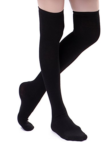 Solid Thigh High Sock (HDE Women's Knee High Stockings Solid Color Opaque Cotton Spandex Fashion Socks)
