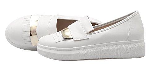 AgooLar Damen Ziehen auf Rund Zehe Niedriger Absatz PU Rein Pumps Schuhe Weiß