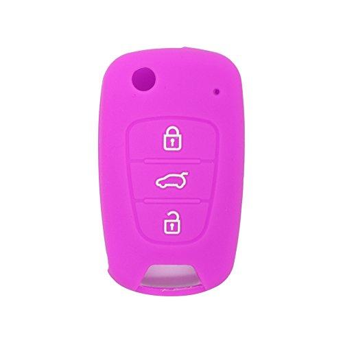 SEGADEN Silicone Cover Skin Jacket fit for HYUNDAI KIA 3 Button Flip Remote Key Case CV2152 Purple