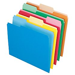 Office Depot File Folders, Letter, 1/3 Cut, Assorted Colors, Box Of 100, 97666