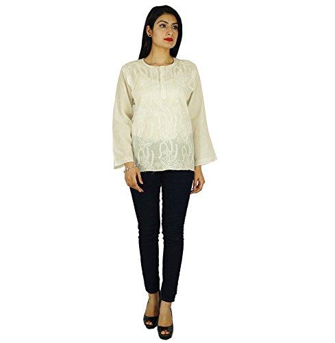 Étnica Kurti Chikan bordado Kurta Bollywood ocasional de las mujeres Top regalo para ella Blanco