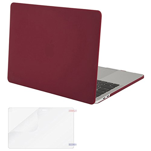 Mosiso MacBook Pro 13 Case 2017 & 2016 Release A1706/A1708, Plastic Hard Case Shell Cover with Screen Protector for Newest Macbook Pro 13 Inch with/without Touch Bar and Touch ID, Wine Red