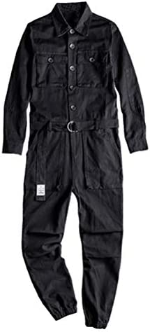 GINZOUS Men`s Long Sleeve Pockets Cargo Joggers Jumpsuits With Belt