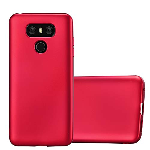 (Cadorabo Case Works with LG G6 in Metallic RED - Shockproof and Scratch Resistant TPU Silicone Cover - Ultra Slim Protective Gel Shell Bumper Back Skin)