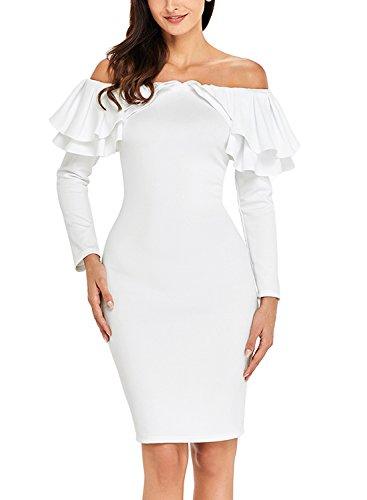leeve Sexy Off Shoulder Ruffle Bodycon Party Midi Dress Small White ()