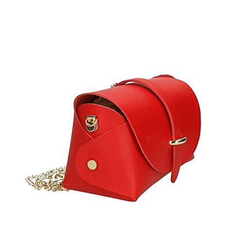 Rosso Made Borsa Mano Spalla Tracolla colore Pelle Vera Italy Cm Donna A Isogea Pink Con In 18x11x9 Metallic Dimensione qUn4w5vwdx