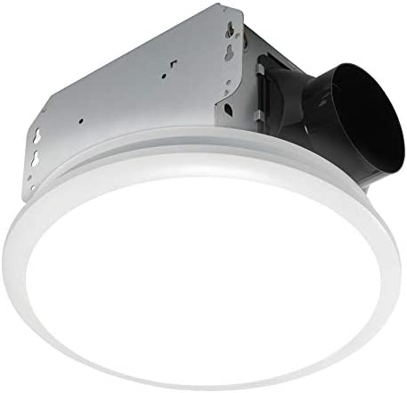 Homewerks Worldwide 7141-50 Bathroom Fan Integrated LED Light Ceiling Mount Exhaust Ventilation 1.0 Sones 50 CFM, White
