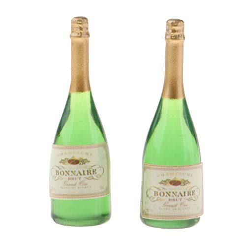 Flameer Handcrafted 2 Pieces Dollhouse Miniature Wine Bottles Champagne Drink Bottles 1/12 Scale Mini Bar Pub Life Scenes Accessory