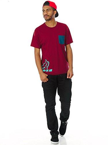 Fox T-Shirt Displaced Grau Rot