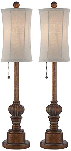 Bertie Traditional Buffet Table Lamps Set of 2 Warm Brown Wood Tone Tall Fabric Drum Shade for Dining Room - Regency Hill ()