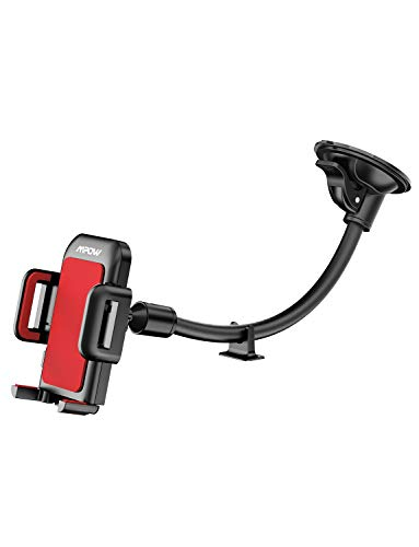 Mpow 033 Cell Phone Holder for Car, Windshield Long Arm Car Phone Mount with One Button Design and Anti-Skid Base Car Holder Compatible iPhone Xs MAX/XS/XR/X/8/7/7P/6s, Galaxy S6/S7/S8,Google,Huawei from Mpow