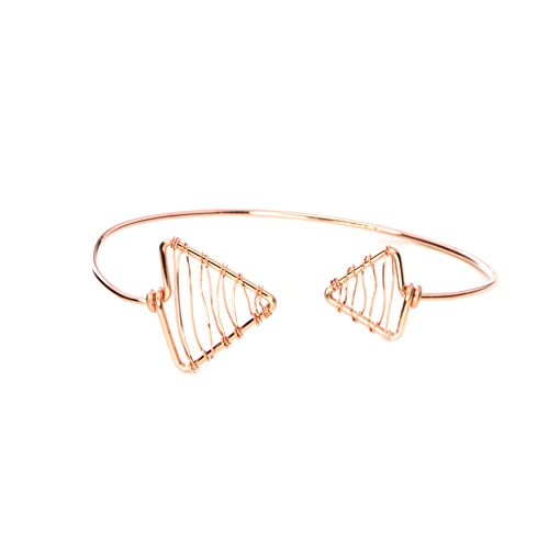 Bangle Detail (Modern Rose Gold Triangle Adjustable Bangle - 14k Filled Woven Detail Perfect Valentines Day Gift)
