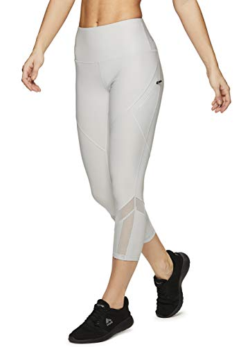 - RBX Active Women's Mesh Zip Pocket Running Capri Yoga Leggings Spring Grey S