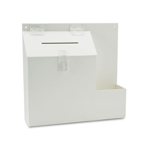 Deflect-o Plastic Suggestion Box with Locking Top, 13-3/4 x 3-5/8 x 13, White ()