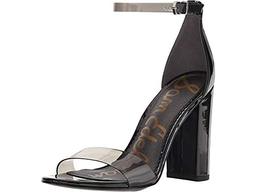 Sam Edelman Women's Yaro Ankle Strap Sandal Heel Smoke/Black Vinyl/Patent 4.5 M US