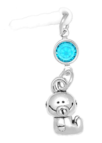 Clayvision Baby Girl or Boy Phone Charm Blue Zircon Colored Crystal December White Plug