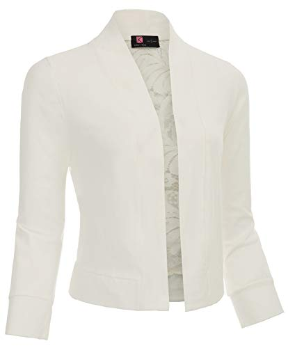 Ladies Shrug Crop Bolero Jacket Top for Bridesmaid(Ivory,XXL)