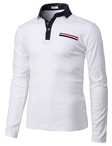 Korean Style Trendy Fashion - H2H Mens Casual Slim Fit Short Sleeve Polo T-Shirts of Various Styles White US M/Asia L (KMTTL0472)
