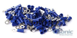 (Install Bay 3M Ring Terminal Connector Vinyl 16/14 Gauge #8 - 100 Pack (Blue))