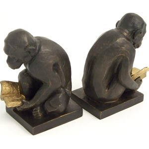 Bey-Berk R19Y Cast Metal Reading Monkey Bookends with Bronzed Finish. Brown
