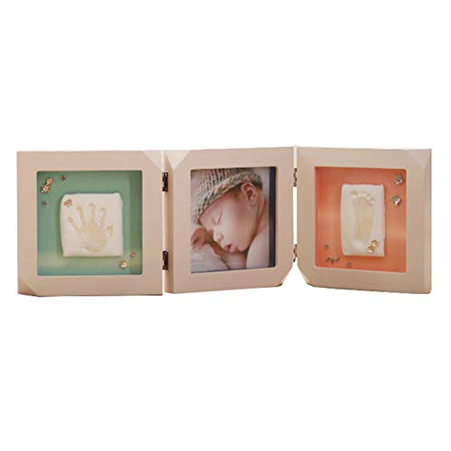 YINJIAO Baby Hand Footprint Kit Safe and Easy to Use Great Baby Gift Present Wooden Photo Frames are Safer and More Durable Size:54.4X18x2.5Cm