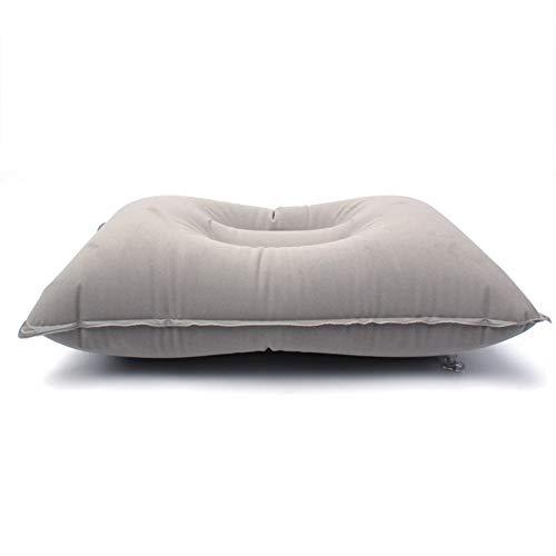 GrmeisLemc Portable Outdoor Inflation Pillow Folable Non-Leakage Flocking Travel Camping Large Size Cushion – Light Gray