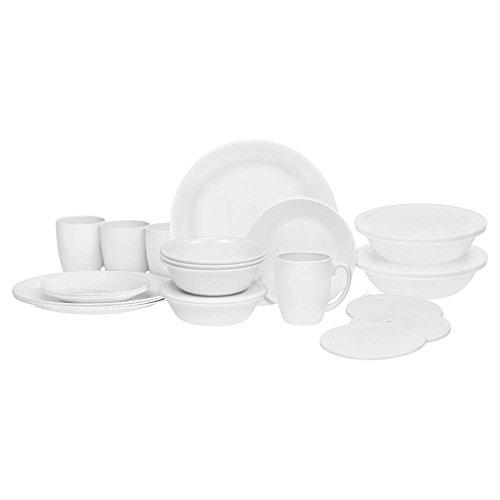 Corelle 24 Piece Livingware Dinnerware Set with Storage,Wint