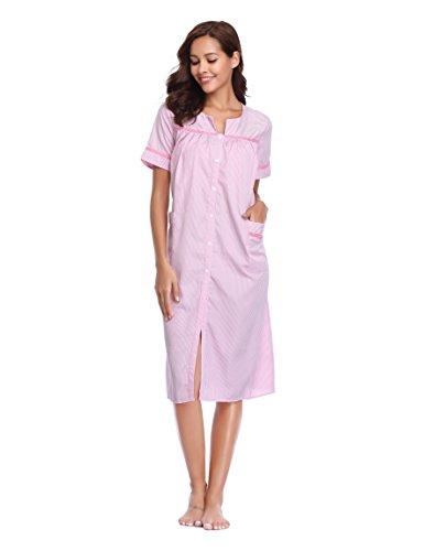 Lusofie a notte con righe maniche da righe Rosa a bottoni da notte cotone e lunghe in Camicia FcHrFqwp