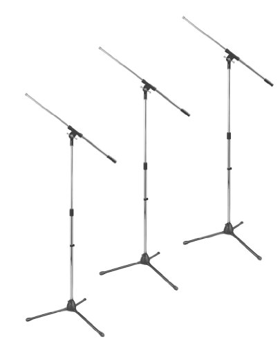 "On Stage MS7701B Tripod Microphone Stand with Fixed 30"" Boom / Black - 3 Pack"