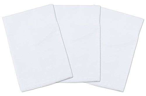 3 White Toddler Pillowcases – for Pillows Sized 13×18 and 14×19-100% Cotton with Soft Sateen Weave – Envelope Style…