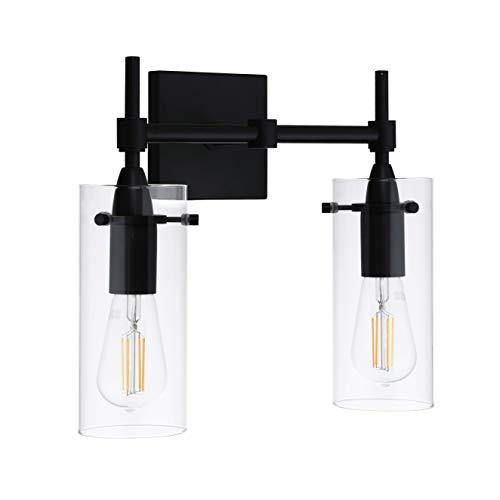 Effimero Black Bathroom Vanity 2 Light Fixture – Modern Over Mirror Lighting with Clear Glass Shades