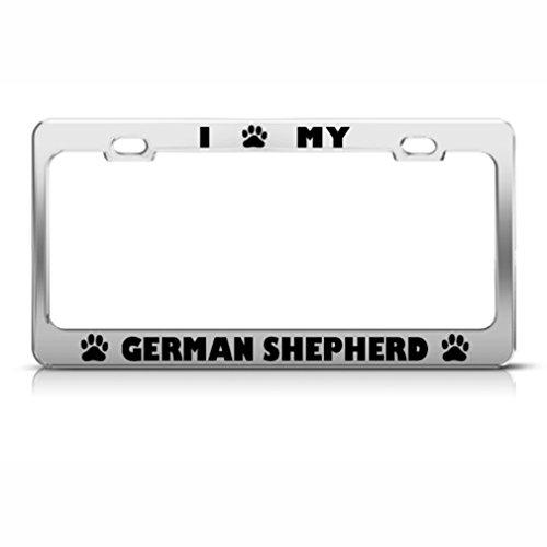German Shepherd Dog Dogs Chrome License Plate Frame Stainless Metal Tag Holder -