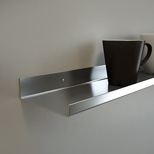 Stainless Steel Floating Ledge/Ultra Mega Shelf/Art Display/Picture Ledge 5'' Extra Deep (50 Inches) (50SS50) by Valley Designs INC