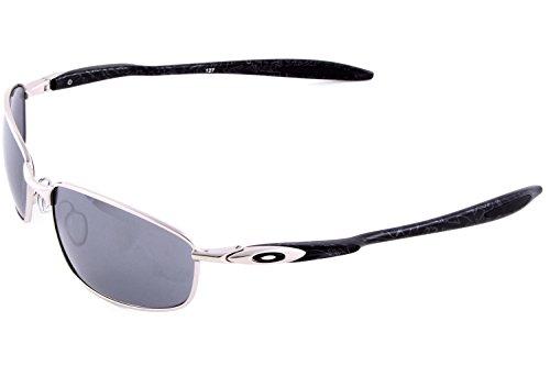 5036529f9e Oakley Blender Chrome Silver Ghost Text Black Iridium Lens Mens Sunglasses   Amazon.co.uk  Clothing