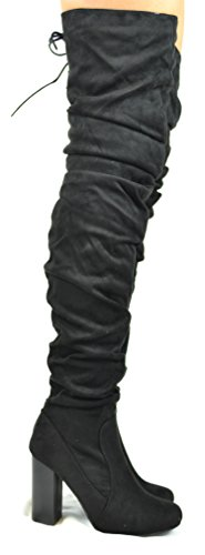 Chase & Chloe Alba-2 Full Side Zipper With Partial Back Lace-up Womens Trendy Slouchy Boot Black Suede hEr5eG