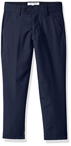 Isaac Mizrahi Big Boys' Wool Blend Slim Pant, Navy, 8 Husky (Navy Suit Pants Wool)