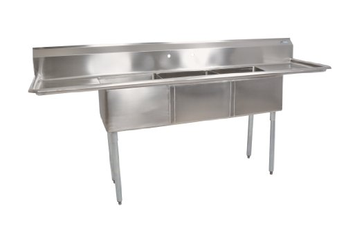 John Boos E Series Stainless Steel Sink, Multi Bowl, 3 Compartment, 15'' Left and Right Drainboard, 60'' Length x 19-1/2'' Width by John Boos