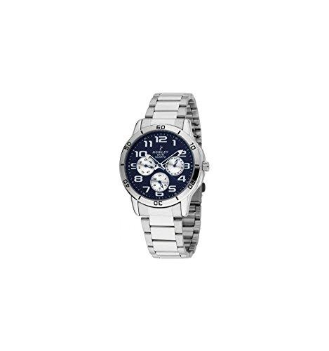 Reloj NOWLEY 8-5496-0-2 - Reloj hombre multifunción 5 atm con caja metálica plateada, brazalete de acero inoxidable y cristal mineral.: Amazon.es: Relojes