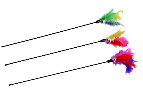 BINGPET Cat Toys Color Vary Feather Teaser and Exerciser Wand for Cat and Kitten, 3 Piece (Feathers Cat Toy Colors)
