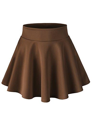 H2H Womens Stretchy Elastic Waist Band Flared Swing Skirt Chocolate M