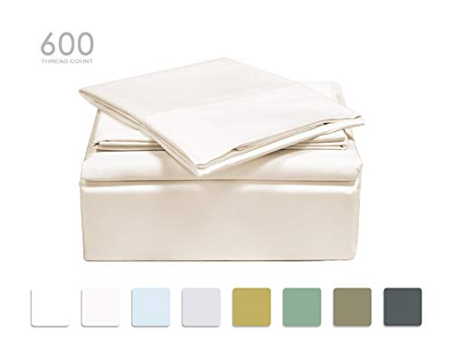 Queen 600 Thread - TRANQUIL NIGHTS 600 Thread Count Cotton Sheet Set- Ivory Queen, 4-Piece Set, Long Staple Combed Cotton, Sateen Weave, Classic Z Hem, Ultra Soft & Shine, Fits Mattress Upto 17