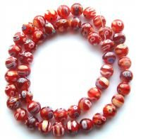 Red Beads Lampwork - M10 10mm Millefiori Lampwork Beads, 10mm Red Many Flower
