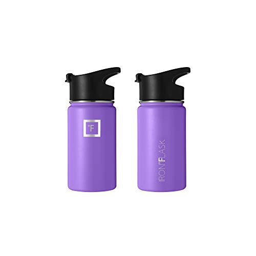 Iron Flask Sports Water Bottle - 14 Oz, Kids, 3 Lids (Spout Lid), Vacuum Insulated Stainless Steel, Hot Cold, Modern Double Walled, Simple Thermo Mug, Hydro Metal Canteen (Violet)